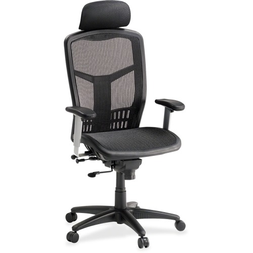 Lorell High-Back Mesh Chair, Mesh Seat With Headrest