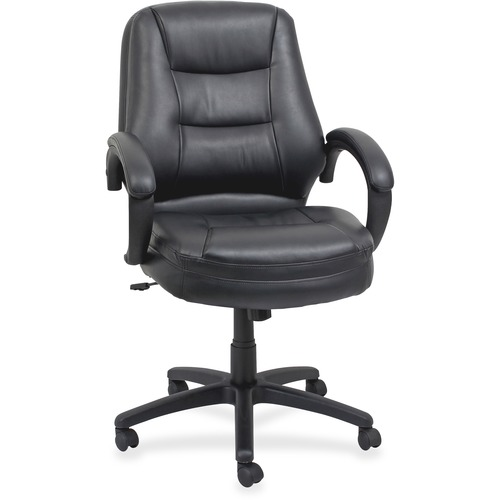 Lorell Westlake Series Mid Back Management Chair - Leather Brown