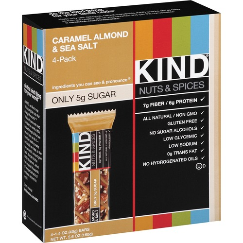 KIND Caramel Almond/Sea Salt Nuts/Spices Snack Bar