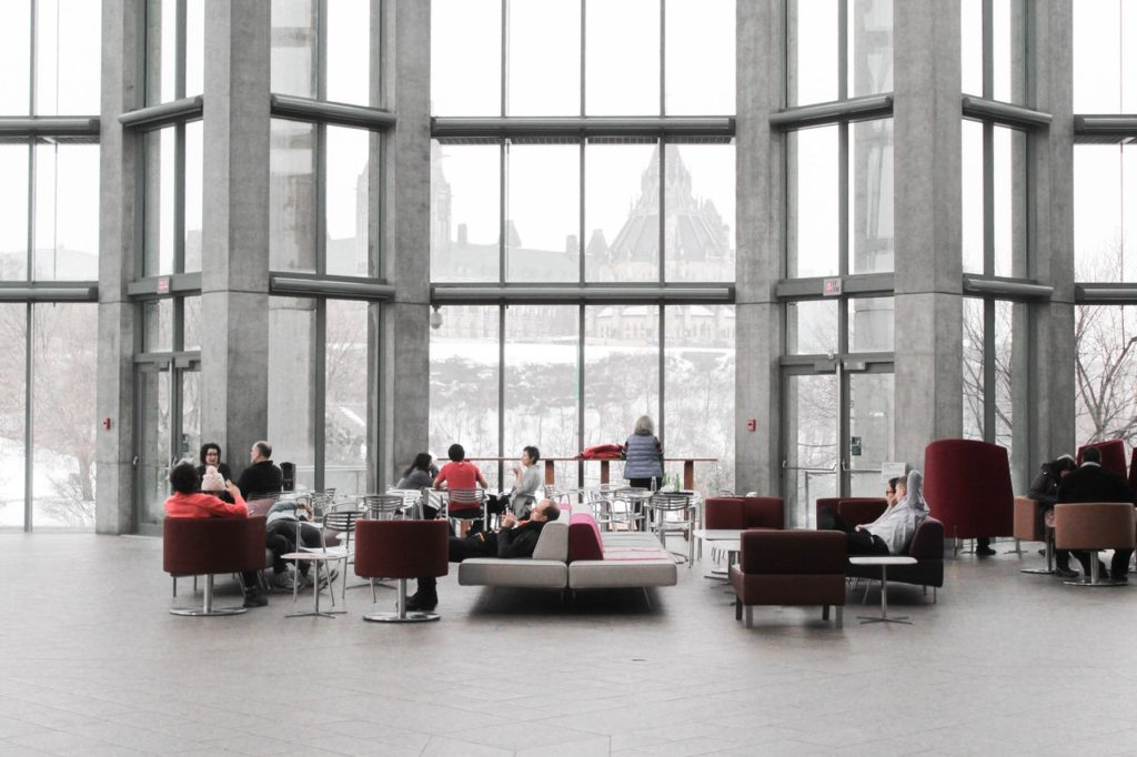 Office Lounge, With People Sitting Around on Couches